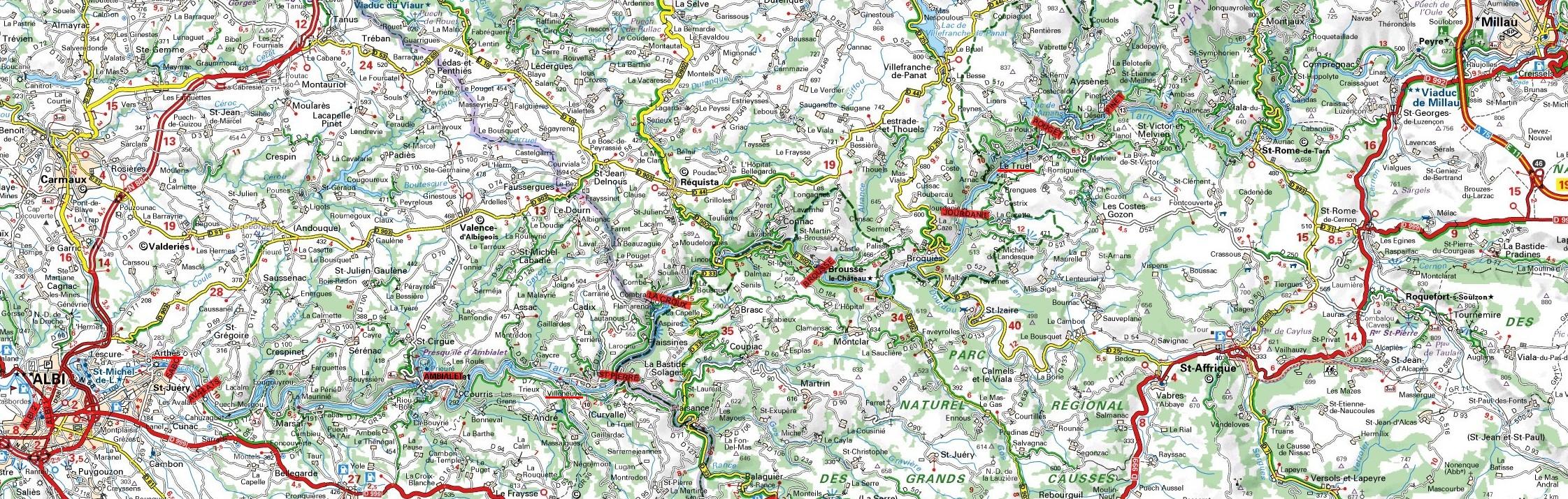 Carte Millau-Albi